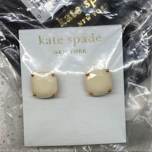NWT Kate Spade Stud Earrings - gold & off white